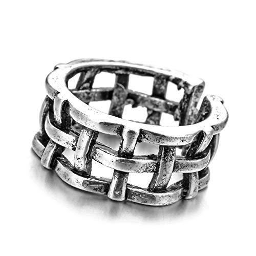 DTYY Offener Ringe Für Frauen,Punk Retro Verstellbar Zaun Ring Antik Silber Distressed Ring Vintage Gothic Schmuck Für Party Geburtstag Jubiläum Unisex Geschenk