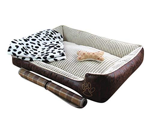 Weiches Luxus Hundebett mit Abnehmbarem Kissen Wasserdicht Kortex Haustierbett für Haustier in Verschiedenen Größen Beige Set XL