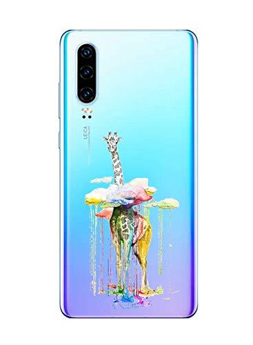 Suhctup Compatible con Huawei P9 Funda de TPU Silicona con Dibujos Lindo Animados Diseño Cárcasa Slim Transparente Suave Flexible Antigolpes Proteccion Bumper Caso,Jirafa 2