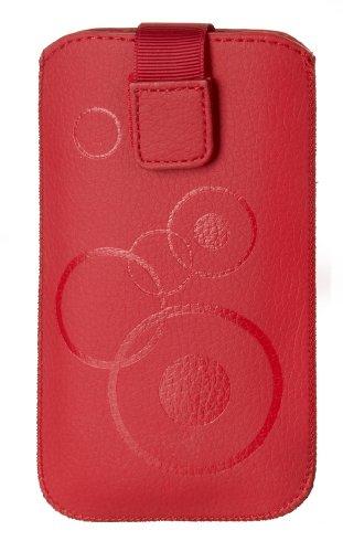 Handytasche Circle passend für Acer Liquid Z500 plus Handy Schutz Hülle Slim Case Cover Etui rot mit Klettverschluss