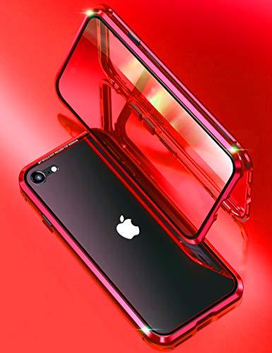 KumWum Magnetico Custodia per iPhone SE2 2020/7 / 8 Full Trasparente 360 Gradi Metallo Telaio in Davanti e Dietro Vetro Temperato Doppio Cover, Rosso