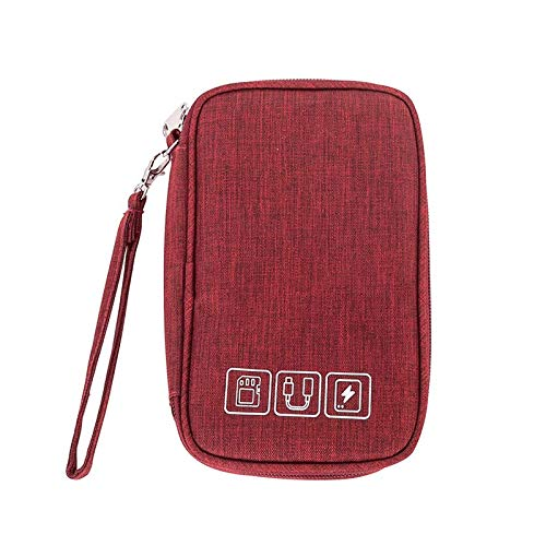 Electronic Organizer Travel Portable Universal Cable Organizer Cable Cord Bag Electronics Accessories Cases Storage Bag Waterproof for Cable, Charger, Phone, USB, SD Card, Power Bank, Earphone (Red)
