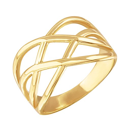 Modern Contemporary Rings Fine 10k Yellow Gold Celtic Knot Wide Band Ring for Women (Size 5.75)