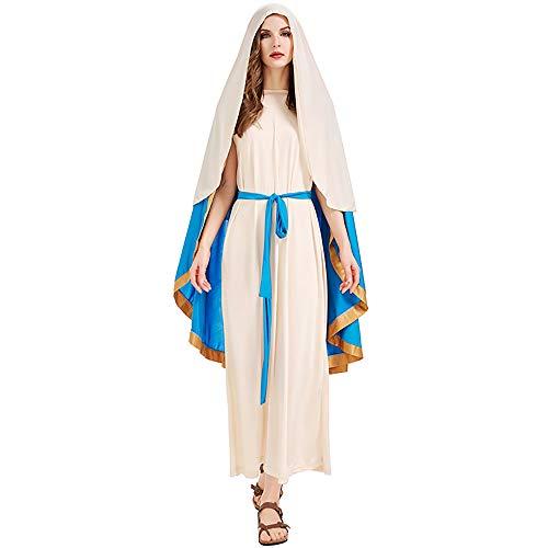 Maogou Disfraces de la Virgen Mara Disfraz de la Biblia de Halloween Falda Cinturn Vestido de Cosplay para Mujer Nia Nio