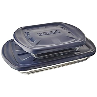 Anchor Hocking 6-Piece Essentials Bake-N-Take Set with Blue Plastic Lid and Blue Tote