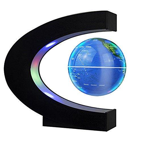 EASY EAGLE Mappamondo Magnetico 3 Pollici, Globo Fluttuante Levitazione Elettronico con RGB Luce LED per Decorazione della Casa Ufficio Regali d'Affari Studente Educazione - Blu