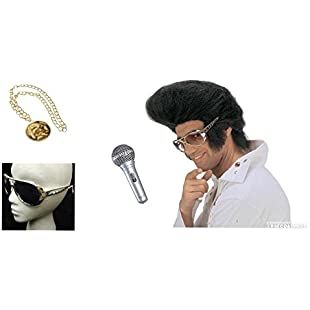 seemeinthat Elvis Presley King of Rock Icon Music Star Legend Wig Glasses Medallion Inflatable Microphone