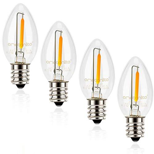 Night Light Bulbs, Emotionlite C7 Candelabra LED Light Bulbs, E12 Chandelier Base, 4W 5W 6W 7W Incandescent Equivalent, Warm White, 2700K, Clear, 4 Pack