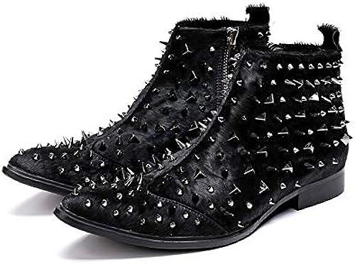 LOVDRAM Chaussures en Cuir pour pour Hommes Nouveau Style en Cuir Véritable Hommes Cheville Bottes Fer Pointu Toe Pour des hommes Militaire Cowboy Bottes Haut Haut bottes Hombre  prix raisonnable