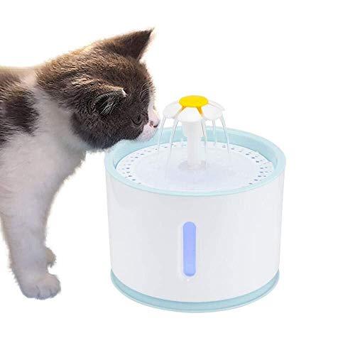 Warm Home Automatische voederbak voor honden, automatische voederautomaten, elektrische waterbron met filter, 2,4 l, hoge capaciteit, 2 W, aangename pomp