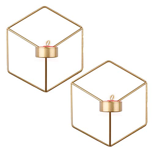 Tokenhigh Geometric Wall Candle Sconces,Hanging Wall Mounted Decorative Candle Holder For Home Decorations, Weddings, Parties,Set of 2 (Gold)