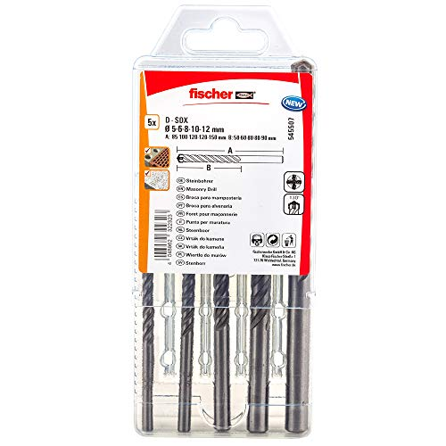 fischer 545507 Bohrer D-SDX Größen, 5-12mm, 4-Schneiden Bohrkopf, praktisches Set, 5 Steinbohrer, grau