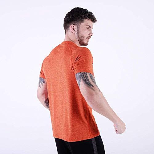 B/H Gym Running Top Workout Camisetas para Hombres,Camiseta Deportiva de Secado rápido, Manga Corta de Entrenamiento Ajustada para Gimnasio-Citrus_M