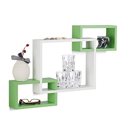 Relaxdays Estantes de Pared en Forma de Cubos, Madera, Blanco y Verde, 10x70.5x48 cm