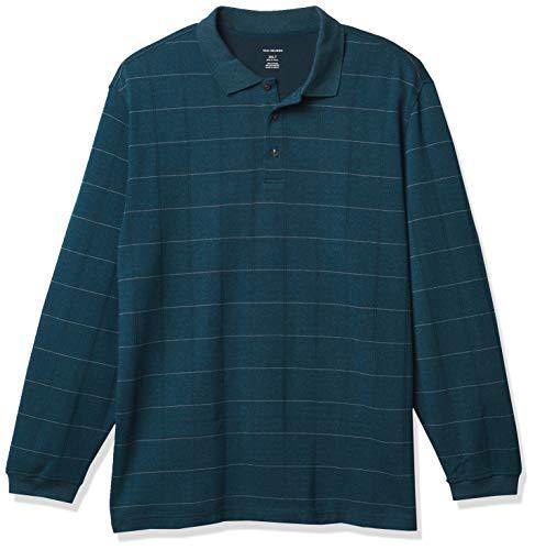 Van Heusen Men's Big & Tall Big Flex Long Sleeve Jaspe Windowpane Polo Shirt, Galactic, 3X-Large Tall