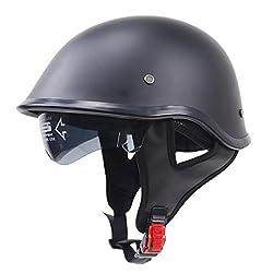 Almencla Unisex Motorradhelm Jethelm Helm Rollerhelm Matte Schwarz Halbschalenhelm Helmschale mit Halteband - XXL