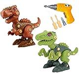UiDor Take Apart - Set di giocattoli con dinosauro, con trapano elettrico, set di giocattoli per costruzione fai da te, ideale come regalo per bambini e ragazze di età 3 4 5 6 7 8 anni