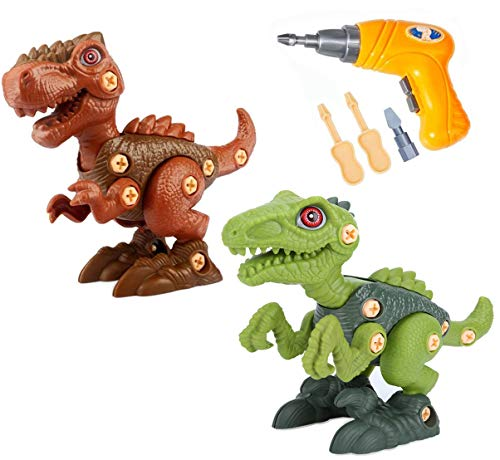 UiDor Take Apart Dinosaur Toys,2 Pack T-Rex and Velociraptor Building Blocks Kit with Electric Drill, DIY Building Construction Toy Set, Best Gifts for Age 3 4 5 6 7 8 Year Old Boys and Girls