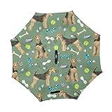 Paraguas invertido de Doble Capa con Mango en Forma de C Paraguas al Aire Libre a Prueba de Viento para Lluvia y Sol para automóvil - Perro y Hueso