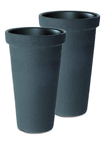 Kreher Set 2 Stück XXL Flower Tower mit herausnehmbarem Einsatz. Aus robustem Kunststoff in Anthrazit. Massive Ausführung. Maße Ø 48 x 74 cm Höhe. Toll für Bäumchen, Rosen und Gräser.