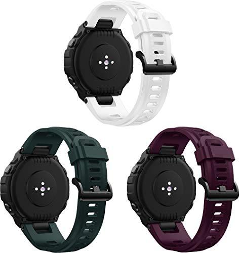 Simpleas Correa de Reloj Reemplazo Compatible con Amazfit T-Rex, la Correa de Reloj Watch Band Accessorios (3PCS F)