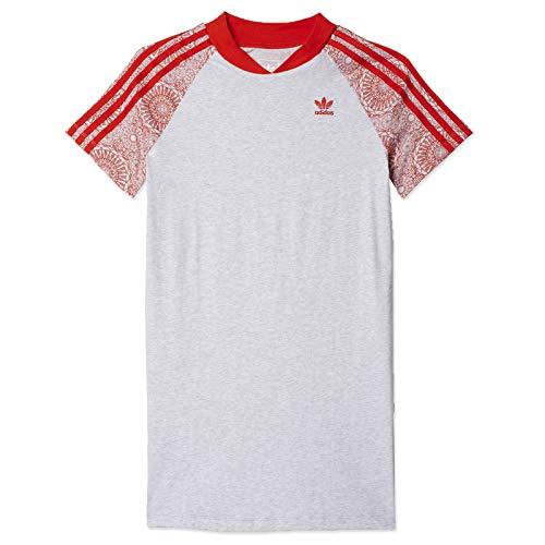 adidas J L tee Camiseta Vestido, niñas, Gris (brgrcl/rojbas/Blanco), 116