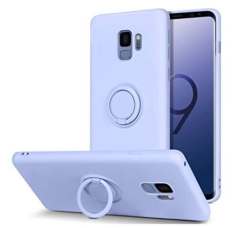 Compatible avec Samsung Galaxy S9 Plus, coque de protection en silicone pour téléphone portable Samsung Galaxy S9 Plus, support magnétique pour voiture, support 360 degrés (violet, Galaxy S9 Plus).