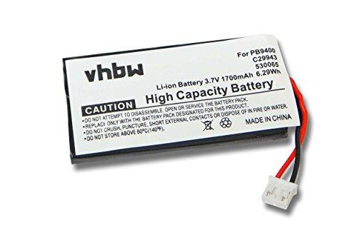 vhbw Li-Polymer Akku 1700mAh (3.7V) für Universal Fernbedienung, Remote Control Philips Pronto TSU-9400 wie PB9400, C29943, 530065.