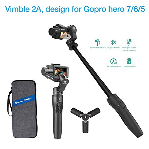 Feiyutech Vimble 2A Extendable Handheld 3-Axis Stabilizer Gimbal for Gopro Hero 7/6/5 with Tripod and Carry Bag