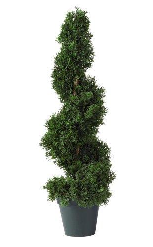 Nearly Natural 5160 2ft. Cedar Spiral Silk Tree (Indoor/Outdoor),Green