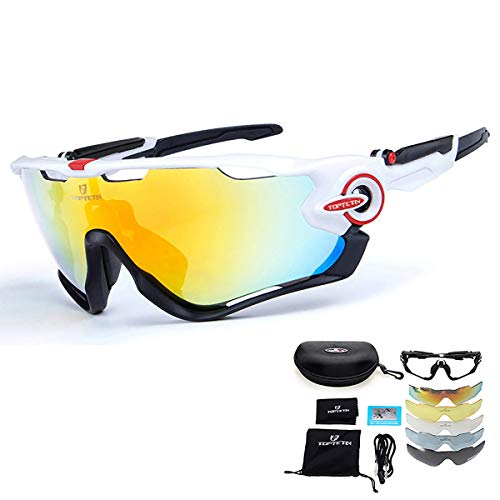 TOPTETN Gafas de Sol Deportivas polarizadas Protección UV400 Gafas de Ciclismo Lentes...