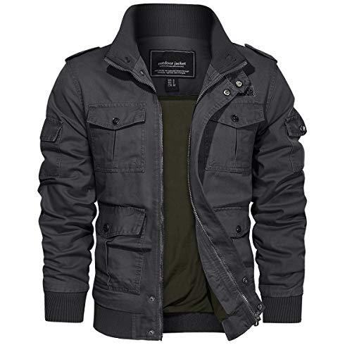 EKLENTSON Chaqueta militar de algodón para hombre, estilo militar, para invierno, cortavientos, con múltiples bolsillos