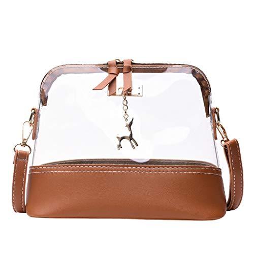 Dorical Transparent Schultertasche Mode Frau Kitz Shell Umhängetasche,Messenger Bag, Strandtasche, Mädchen mit Verstellbarem und abnehmbarem Schultergurt, Handtasche(Braun)