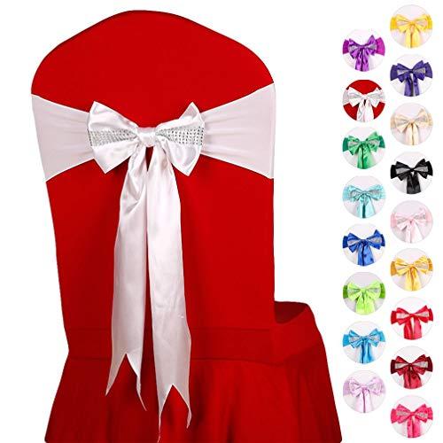 JK Home Elastische Stuhlhussen mit Schleifen, für Hochzeiten, Partys, Dekorationen, Weiß, 10 Stück