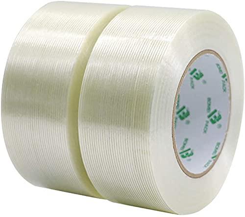 Paquete de 2 cintas reforzadas de fibra de vidrio mono, cinta de filamento transparente, cinta reforzada de fibra de vidrio de 150 micras x 50 mm x 50 m