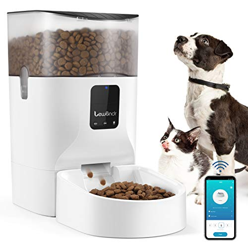 Lewondr 7L Distributore Automatico Cibo per Cani, Gatti, con Controllo Remoto WiFi 2.4G, Accessori per Animali Domestici, Alimentatore Cibo per Cani, Gatti, Piccola Media Taglia - Bianco
