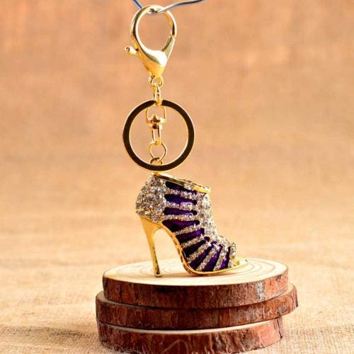 RTYU Creativa Zapatos de tacón Alto la aleación del cinc del Rhinestone Llavero Llavero Mujeres Bolso sostenedor de la Llave del Coche del Ornamento Accesorios (Color Name : Gold Purple)