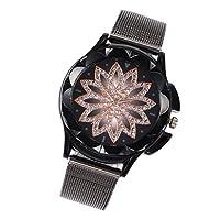 Abbraccia レディース高級クリスタルフラワーダイヤルブレスレットクォーツ時計ビジネス腕時計 - ブラック