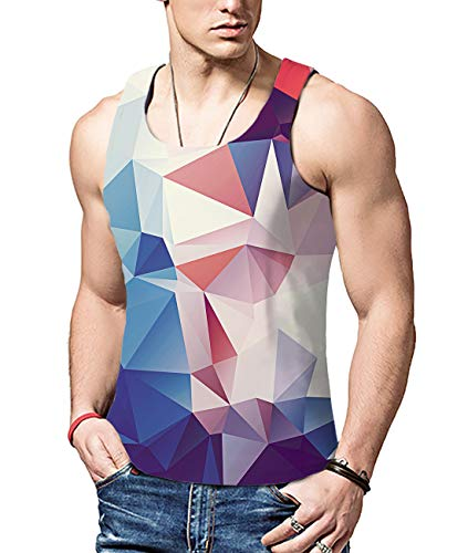 ALISISTER Männer 3D Geometrie Muster Tanktop Sommer Ärmellos Tank Top Tshirts Sport Gym Weste Muskel-Shirt Fitness XXL