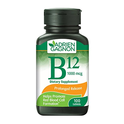 Adrien Gagnon - Vitamin B12 1000 mcg Time Release 100 Tablets, Cyanocobalamin B12 Vitamins for Vegans, Supplements for Energy Boost and Healthy Red Blood Cell Count