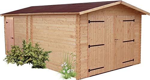 Garage Denis madriers Douglas 28 mm sans Plancher Toit Double Pente 20,98 m²