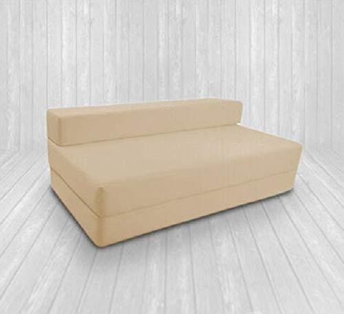 Zafiro 100% algodón Z cama doble plegable silla cama invitado sofá cama plegable espuma suave y cómodo con una funda extraíble con cremallera 9 colores (crema)