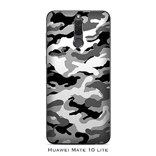 Funda Mate 10 lite Carcasa Huawei Mate 10 lite Militare Mimetica Camuflaje Ejército Militar Camuflaje gris / Cubierta Imprimir también en los lados / Cover Antideslizante Antideslizante Antiarañazo