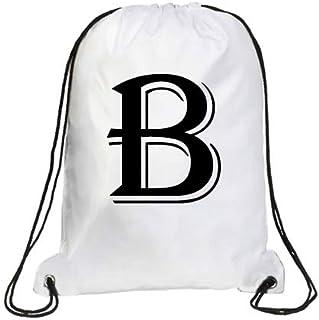 IMPRESS Drawstring Sports Backpack White with Algerian Letter B