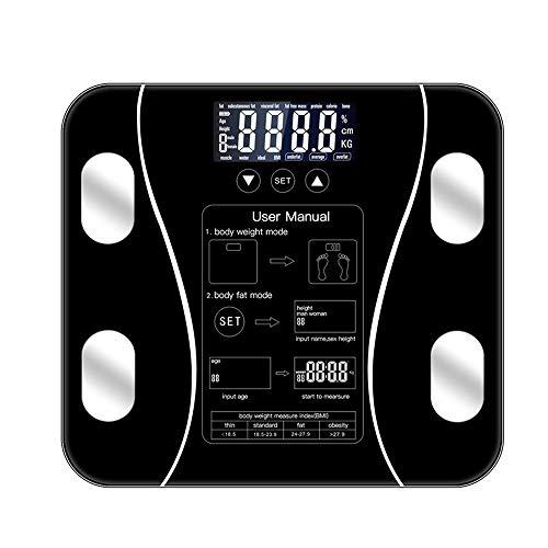 Balanza de baño,báscula de grasa corporal Piso científico inteligente electrónico LED Peso digital,artefacto de pérdida de peso,báscula de baño,simple,rápida,adecuada para personas mayores y niños