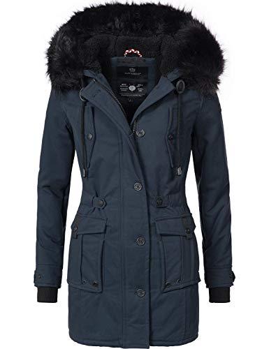 Navahoo Damen Winter Mantel Baumwoll Parka Luluna Blau Gr. XL