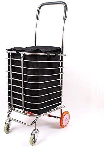 ViewSys Shopping Trolley, Carrito de la Compra Cesta de Remolque Ligero Plegable de Acero Inoxidable Polea de 4 Ruedas Carro del Remolque,