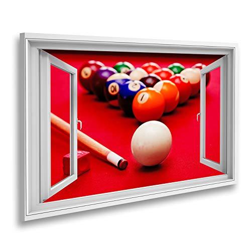 Bild auf Leinwand Fensterblick Billard Billard Billardkugel Queue Farbige Kugeln im Dreieck Kreide Roter Stofftisch Sagenhafter Effekt Wandbild Leinwandbild XCLE