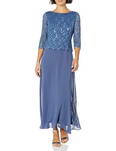 Alex Evenings Women's Long Mock Dress with Full Skirt (Petite and Regular Sizes), Wedgewood, 16
