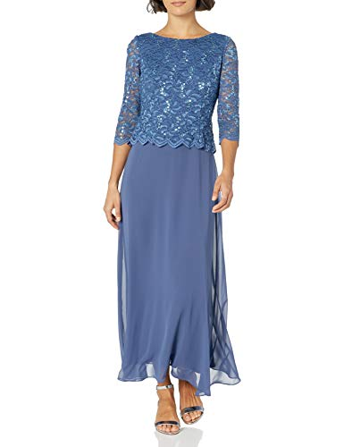 Alex Evenings Women's Long Mock Dress with Full Skirt (Petite and Regular Sizes), Wedgewood, 14P